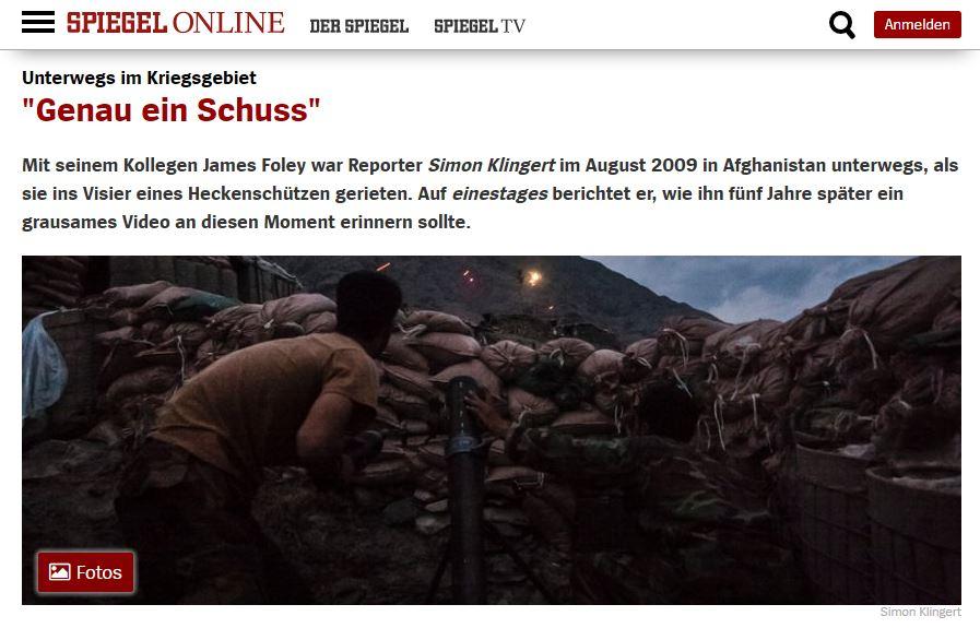 Spiegel Online - Genau ein Schuss. Unterwegs im Kriegsgebiet.